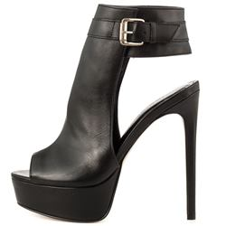 Shoespie Elegant Black Peep Toe Platform High Heel Ankle Boots