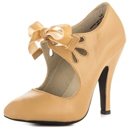 Shoespie Girly Apricot Lace Up Stiletto Heels