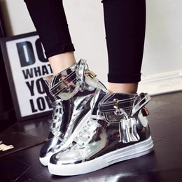 Shoespie Patent Leather High Upper Sneakers