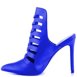 Shoespie Blue Pointed Toe Cutout Vamp Naked Ankle Dress Sandals