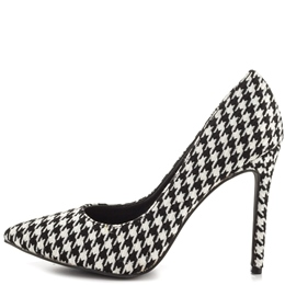 Shoespie White Houndstooth Stiletto Heels