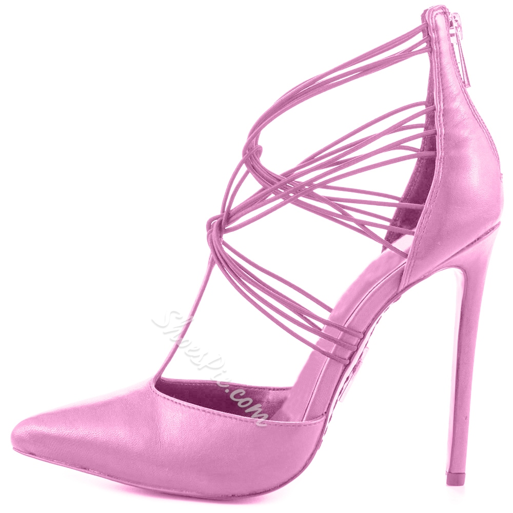 Shoespie Classy Pink Strappy Looks Stiletto Heels Shoespie