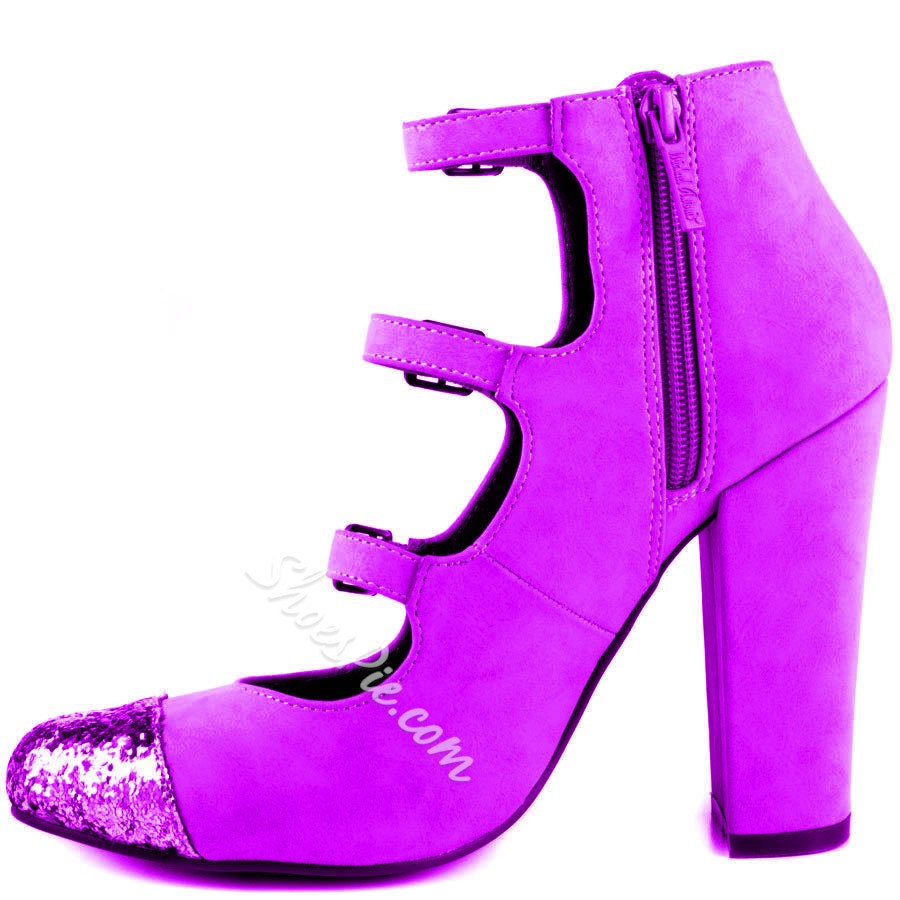 Shoespie Slouchy Purple Buckles Chunky Heel Ankle Boots