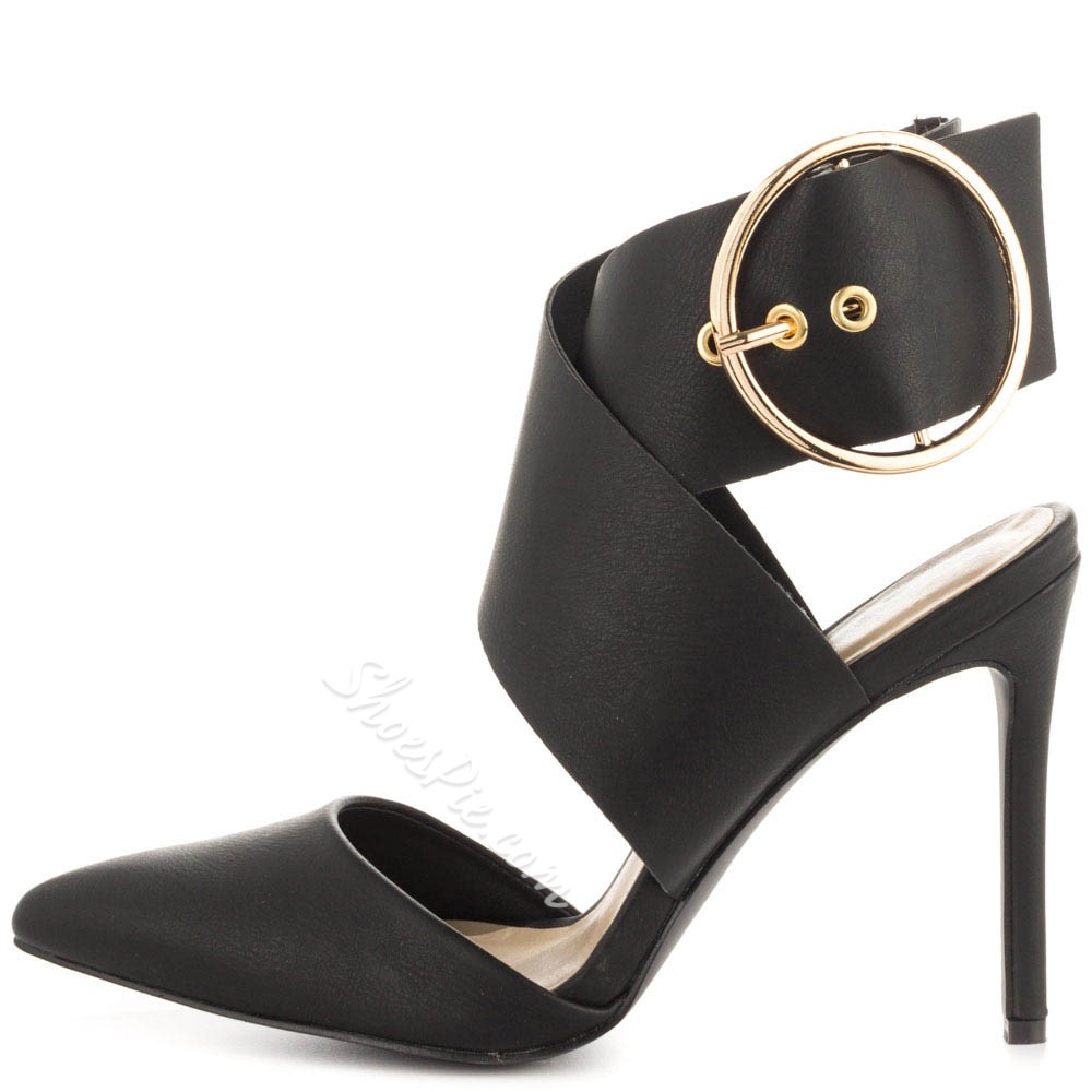 Shoespie Elegant Black Round Buckle Stiletto Heels