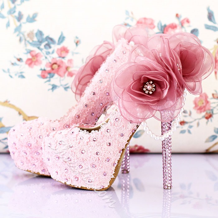 Shoespie Mesh Flower Appliqued Beading Platform Heel Bridal Shoes