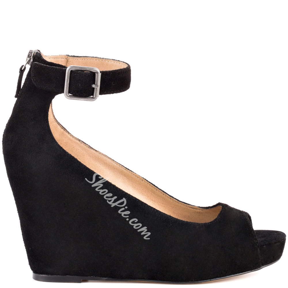 Shoespie Black Suede Back Zipper Ankle Wrapped Wedge Sandals