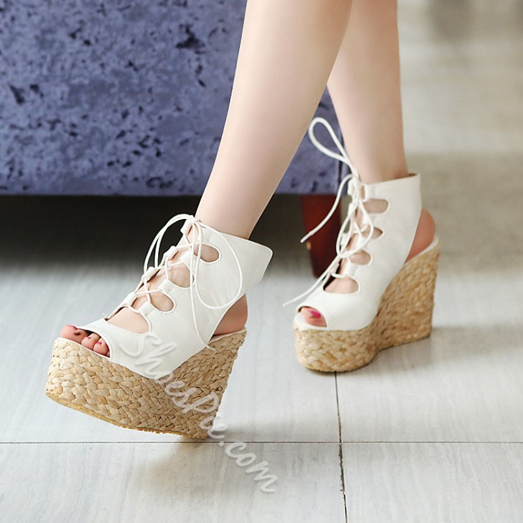 Shoespie Peep Toe Lace Up Backless Wedge Sandals