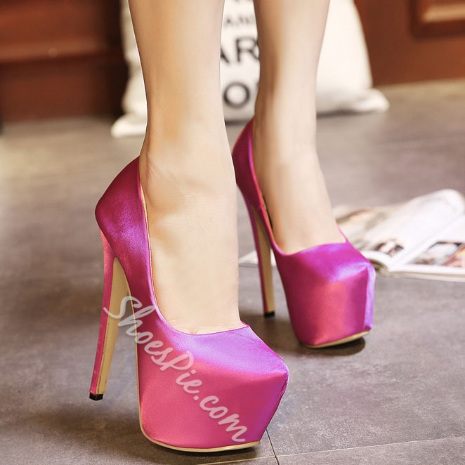 Shoespie Solid Color Platform High Heel Pumps