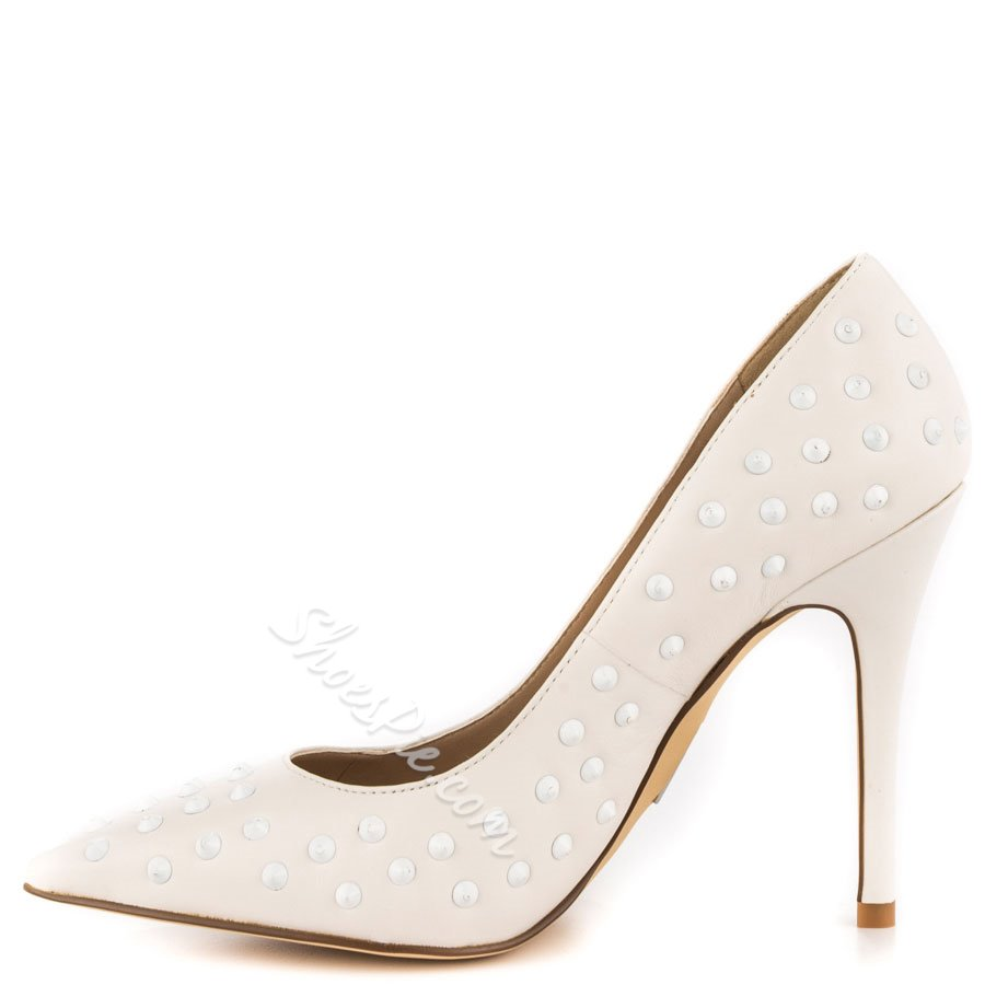 Shoespie White Rivets Stiletto Heel