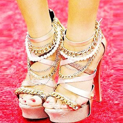 Shoespie Intricate Beads and Chains Platform Party Dress Sandals