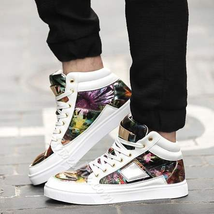 Shoespie Chic Print Pattern Patchwork Lace Up Men's Skate Sneakers