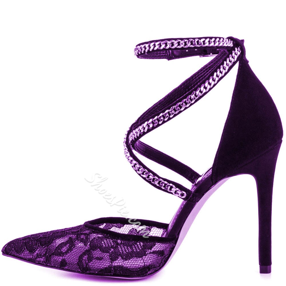 Shoespie Luxurious Purple Lace Chain Stiletto Heels