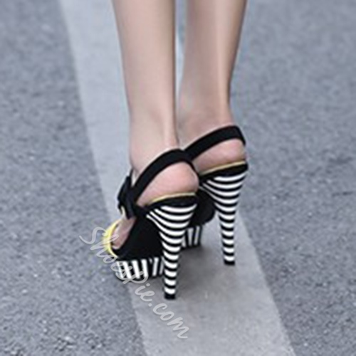 Shoespie Chic Stripe Color Block Dress Sandals
