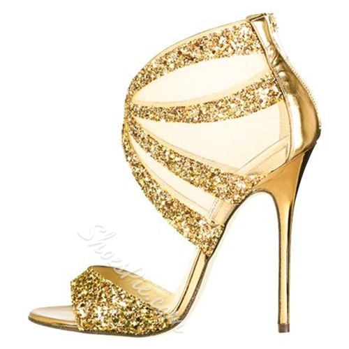 Shoespie Classic Golden Sequin Fabric Dress Sandals