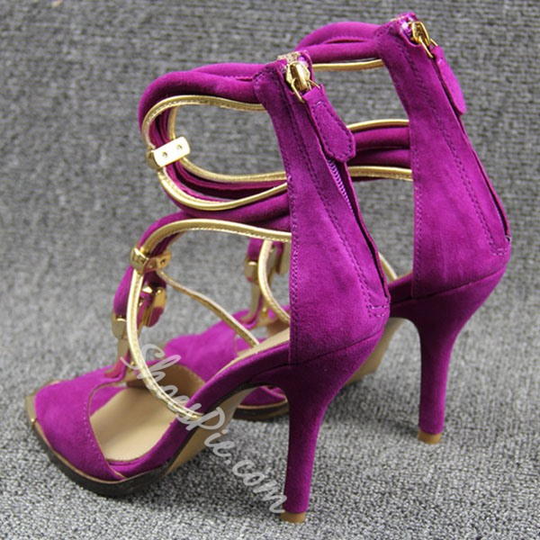 Shoespie Cross Strap Metal Decorated Open Square Toe Dress Sandals
