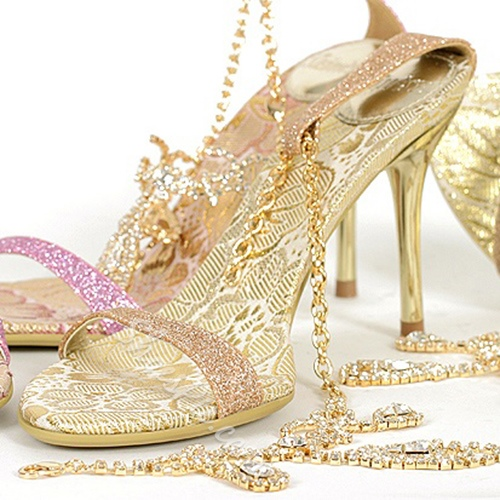 Shoespie Luxurious Rhinestone Ankle Chains Dress Sandals