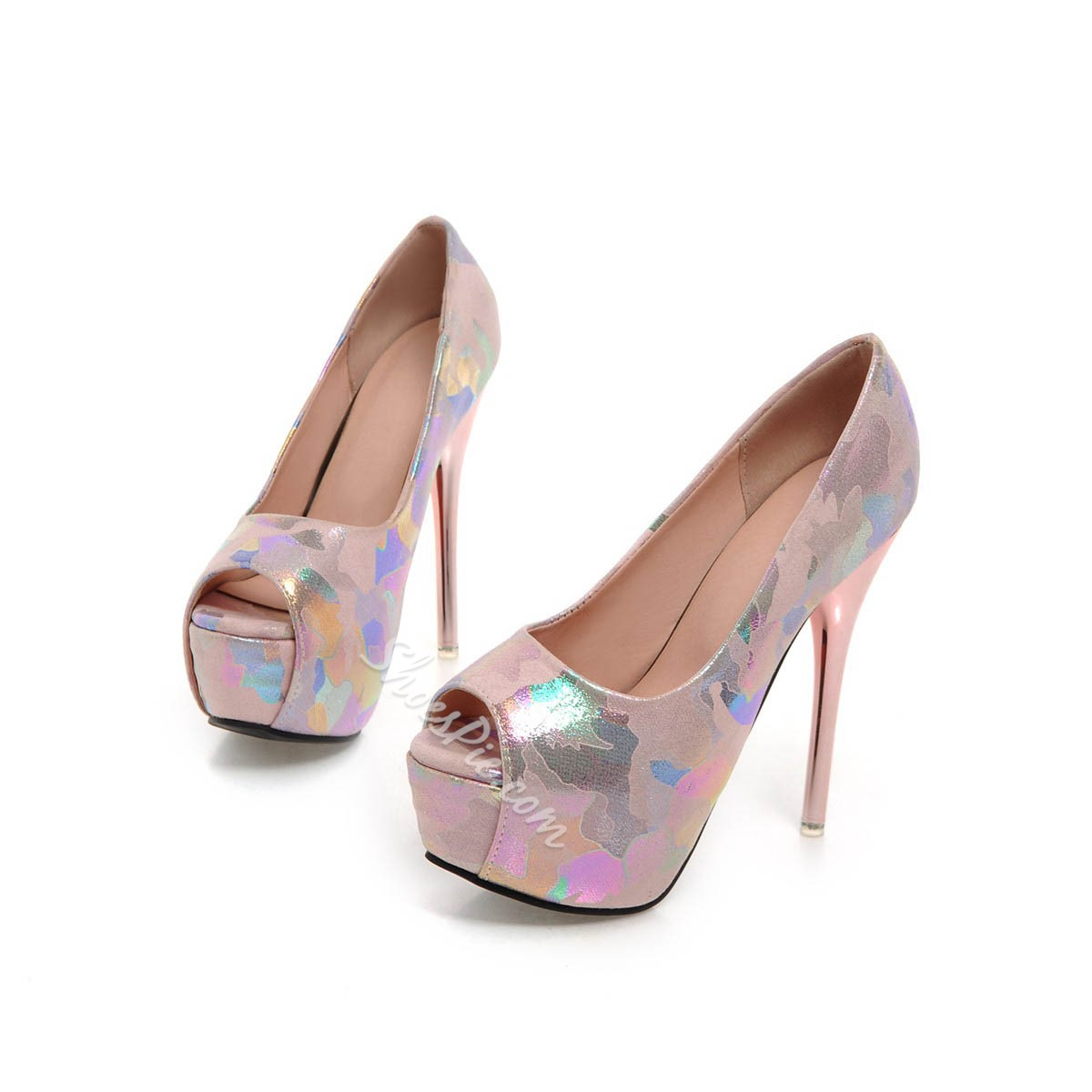 Shoespie Color Drawing Peep Toe Stiletto Heel Pumps