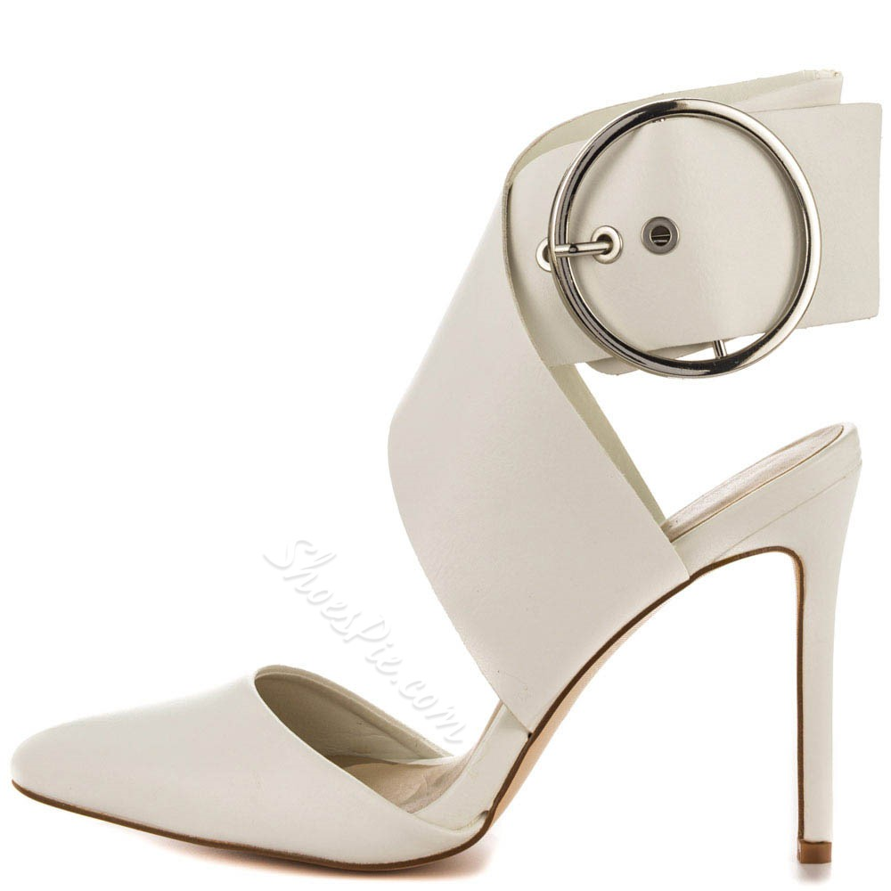 Shoespie Elegant White Round Buckle Stiletto Heels