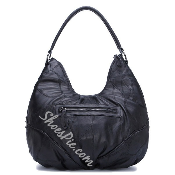 Shoespie Black Dumpling Shape Rivets Tote Bag