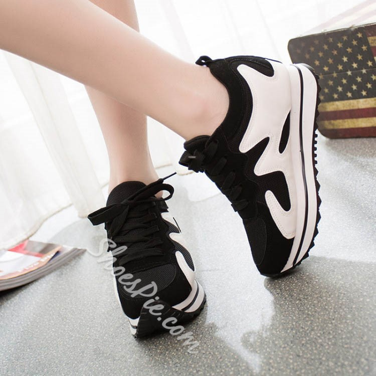Shoepie Brisk Thick Sole Color Contrast Sneakers