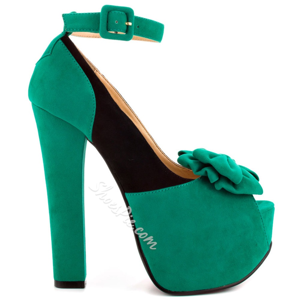 Shoespie Sweet Green Bowtie Peep Toe Platform Chunky Heel Pumps