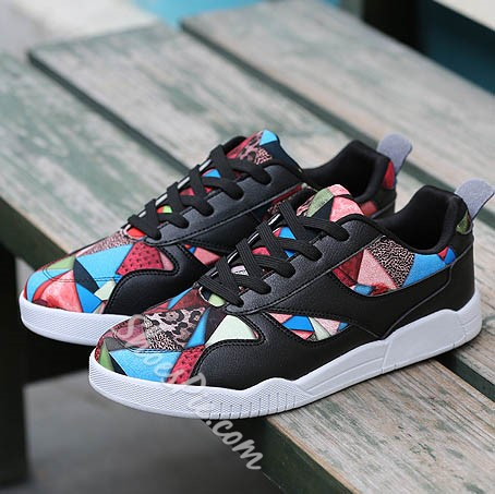 Shoespie Fashionable Multi Color Patchwork Men's Skate Sneakers