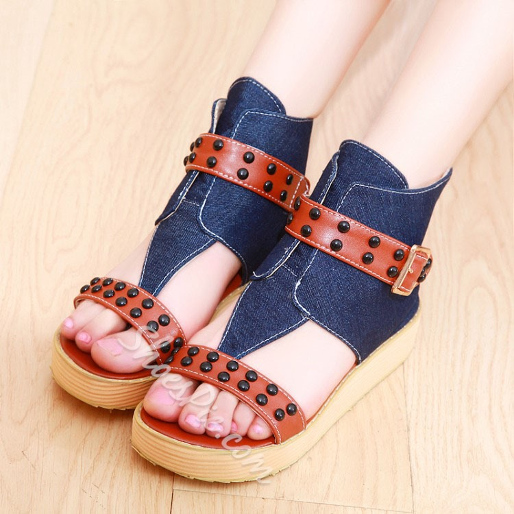 Shoespie Denim Blue Patchwork Rivets Dress Sandals