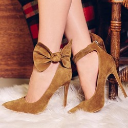Shoespie Sweet Ankle Bowtie Decorated Poined Toe Dress Heels