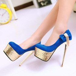 Shoespie Sweet Color Side Bowtie Golden Platform Heels