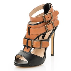 Shoespie Orange Buckles Stiletto Heel Sandals