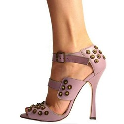 Shoespie Light Purple Rivets Peep Toe Shoes