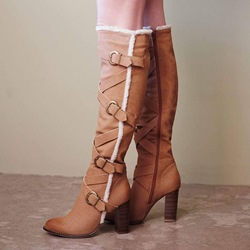 Shoespie Gorgeous Brown Shearling Cross Strap Chunky Heel Knee High Buckle Boots