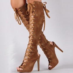 Shoespie Allover Lace Up Knee High Sandal Boots