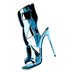 Shoespie Bright Blue Cut Out Stiletto Heel Dress Sandals