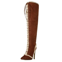 Shoespie Brown Suede Lace Up Purfled Knee High Boots