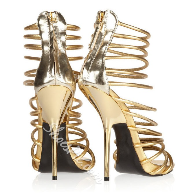 Shoespie Golden Stiletto Heel Sandals