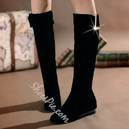 Shoespie Black Low heel Knee High Boots