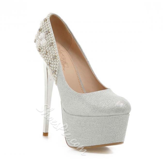 Shoespie Classy Beading Platform High Heel Shoes