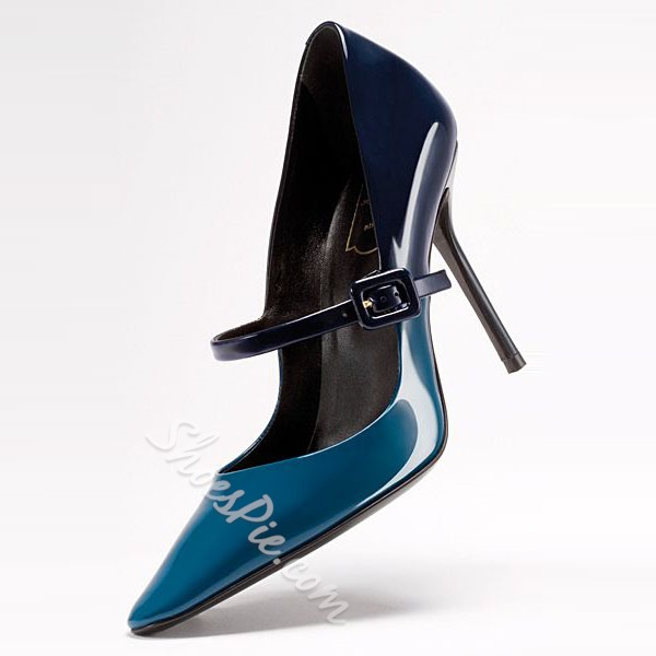 Shoespie Blue Pointed Toe Stiletto Heel Mary Jane Shoes