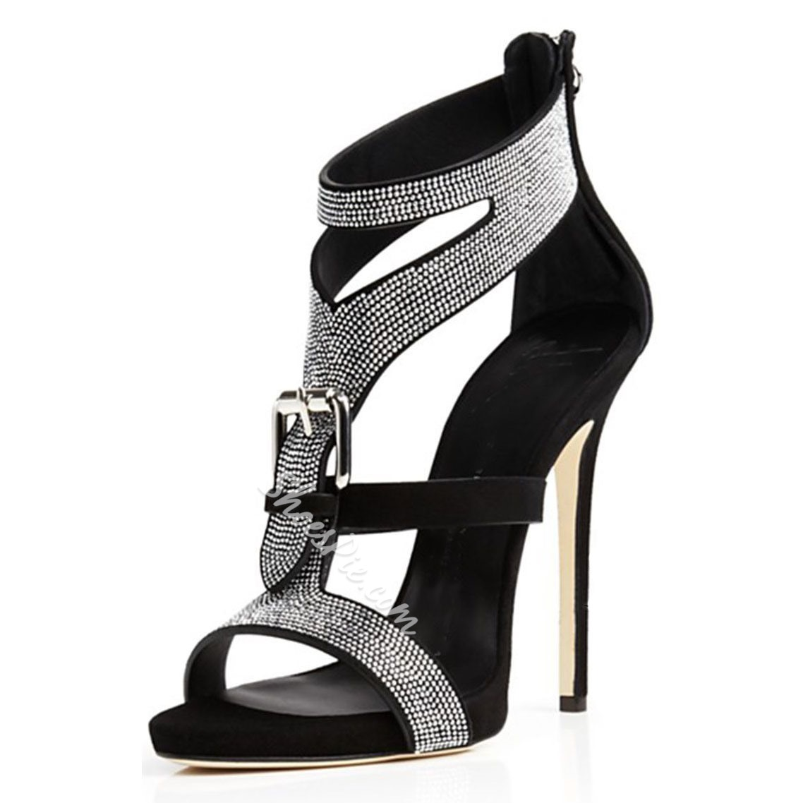 267e89c663fd Shoespie Rhinestone Buckles Stiletto Heel Dress Sandals- Shoespie.com