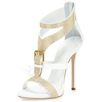 Shoespie Rhinestone Buckles Stiletto Heel Dress Sandals