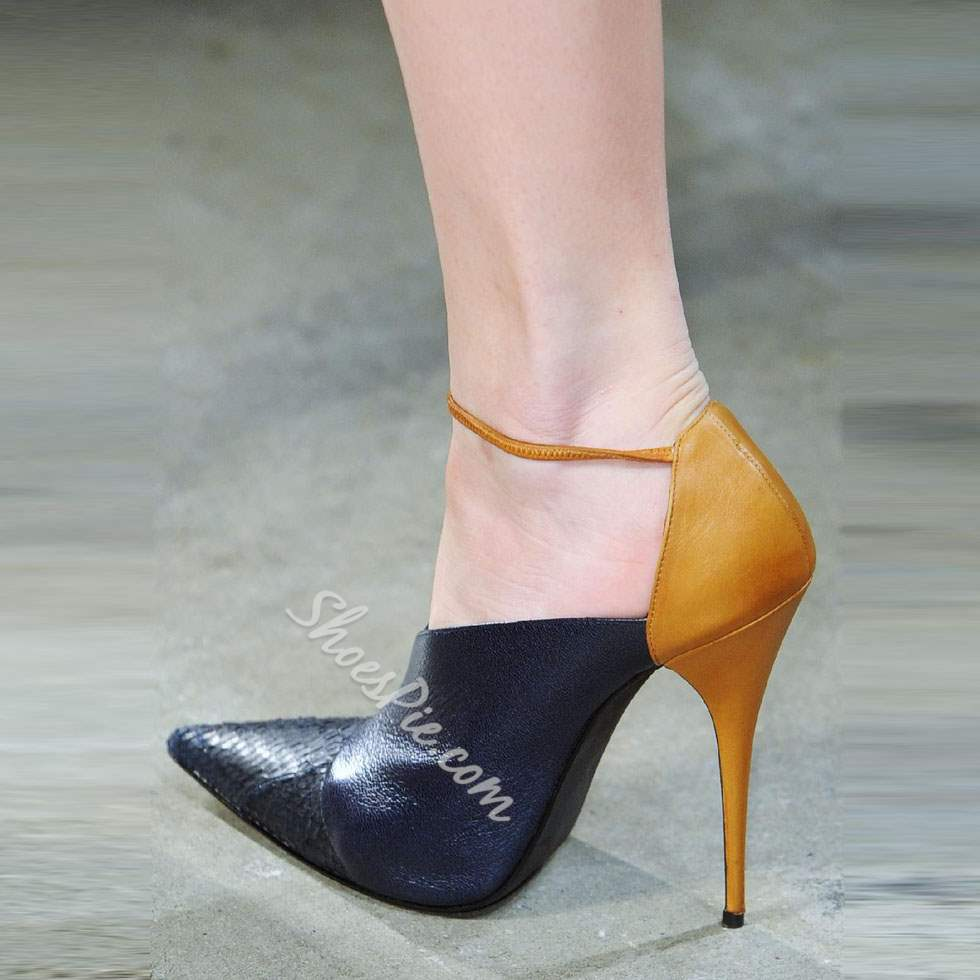 Shoespie Elegant Contrast Color Pointed Toe Stiletto Heel Shoes