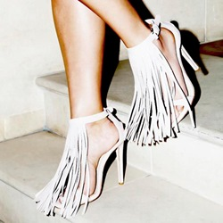 Shoespie White Front Tassels Decorated Sandals