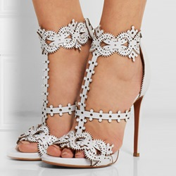 Shoespie White Color Vintage Carving Dress Sandals