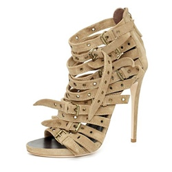 Shoespie Multi Buckles Back Zipped Gladitator Sandals