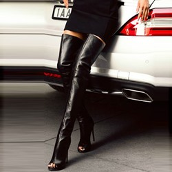 Shoespie Black Sexy Peep Toe Stiletto Heel Thigh High Boots