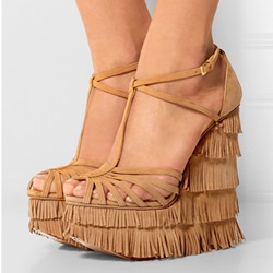 Shoepie Hobo Bohemian Multi Tassels Wedge Dress Sandals