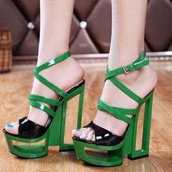 Shoepie Color Contrast Cutout Sole Cross Straps Platform Dress Sandals