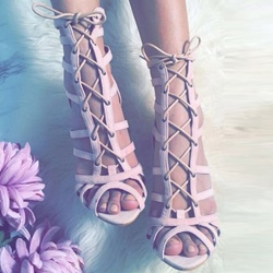 Shoespie Pink Suede Front Lace Up Sandals