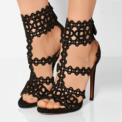 Shoespie Black T Srap Geometric Cutout Sandals